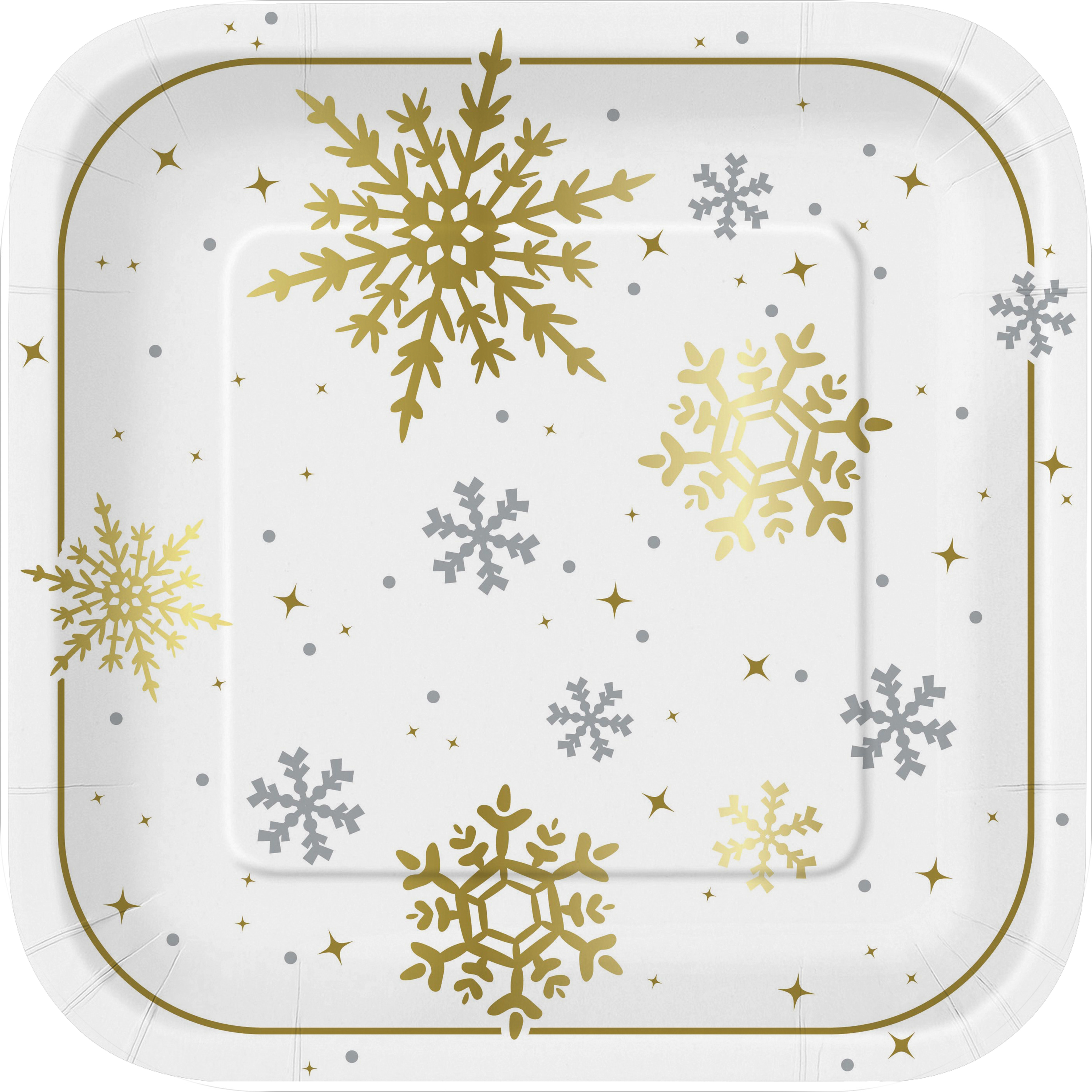"9"" Square Foil Gold & Silver Snowflake Christmas Party Plates, 8ct"
