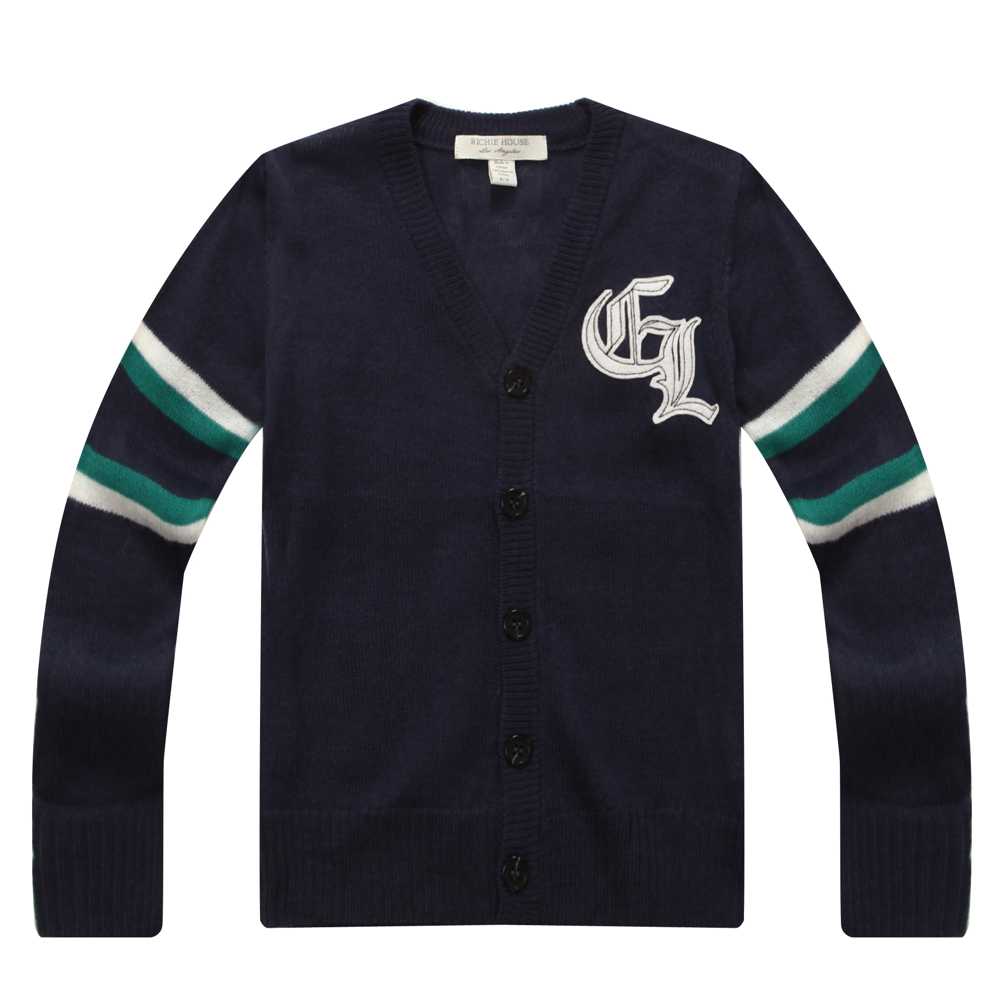 Richie House Boys' Handsome Cardigan Sweater with Embroidery RH0700