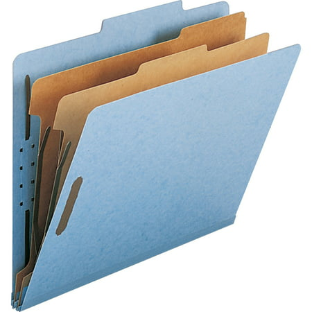 Smead, SMD14021, Recycled Pressboard 2-divider Classification Folders, 10 / Box, Blue
