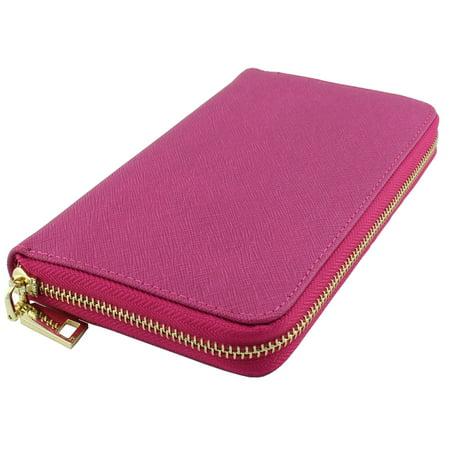 Amy&Joey genuine saffiano leather zip around wallets- FUCHSIA