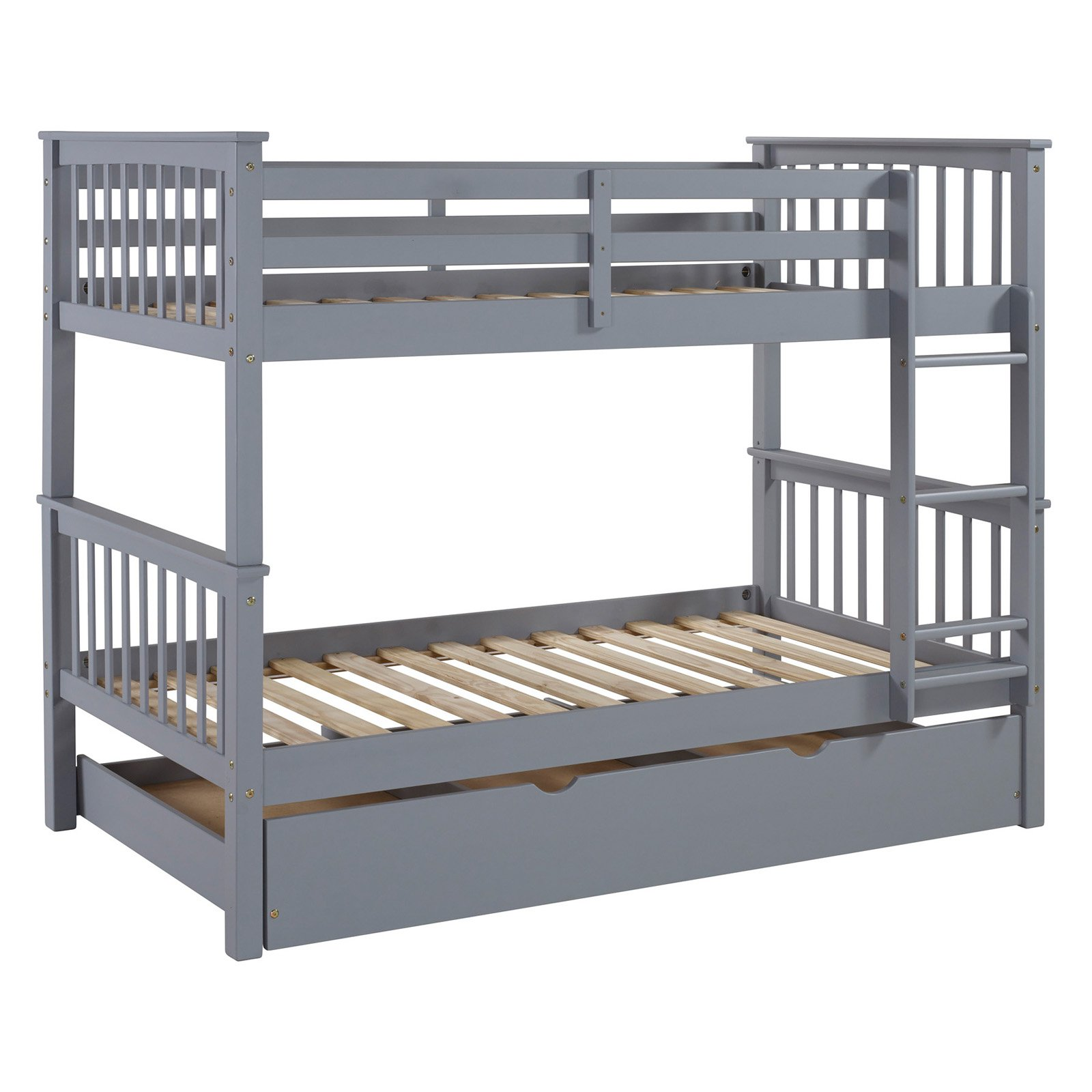 Walker Edison Solid Wood Twin Over Twin Bunk Bed With Optional