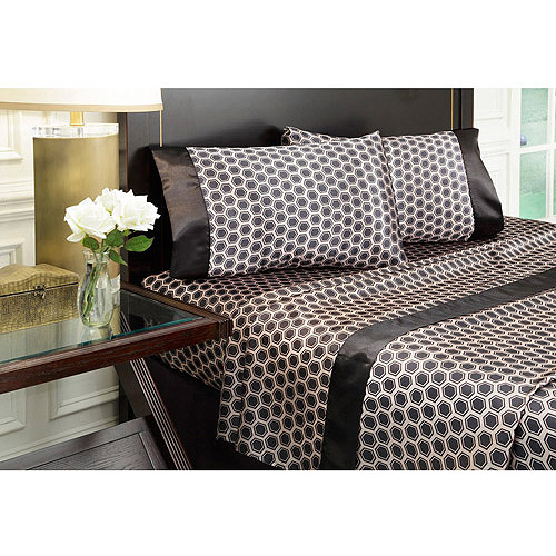 Royal Opulance Satin Print Sheet Set, Honeycomb