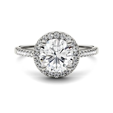 14K White Gold Moissanite Round Halo Ring 1.82 DEW