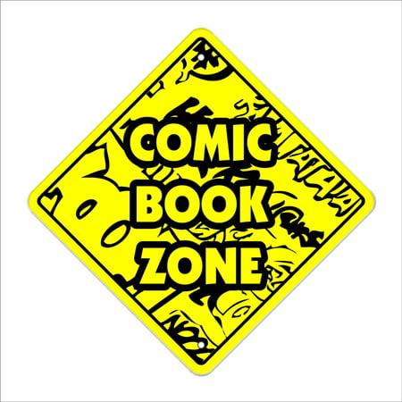 Comic Crossing Sign Zone Xing   Indoor/Outdoor   14