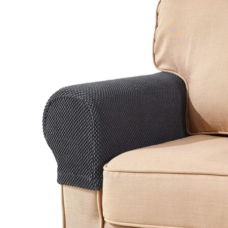 Armrest Set - Subrtex Spandex Stretch Fabric Armrest Covers Sofa Armchair Slipcovers Set of 2 (Gray Jacquard)
