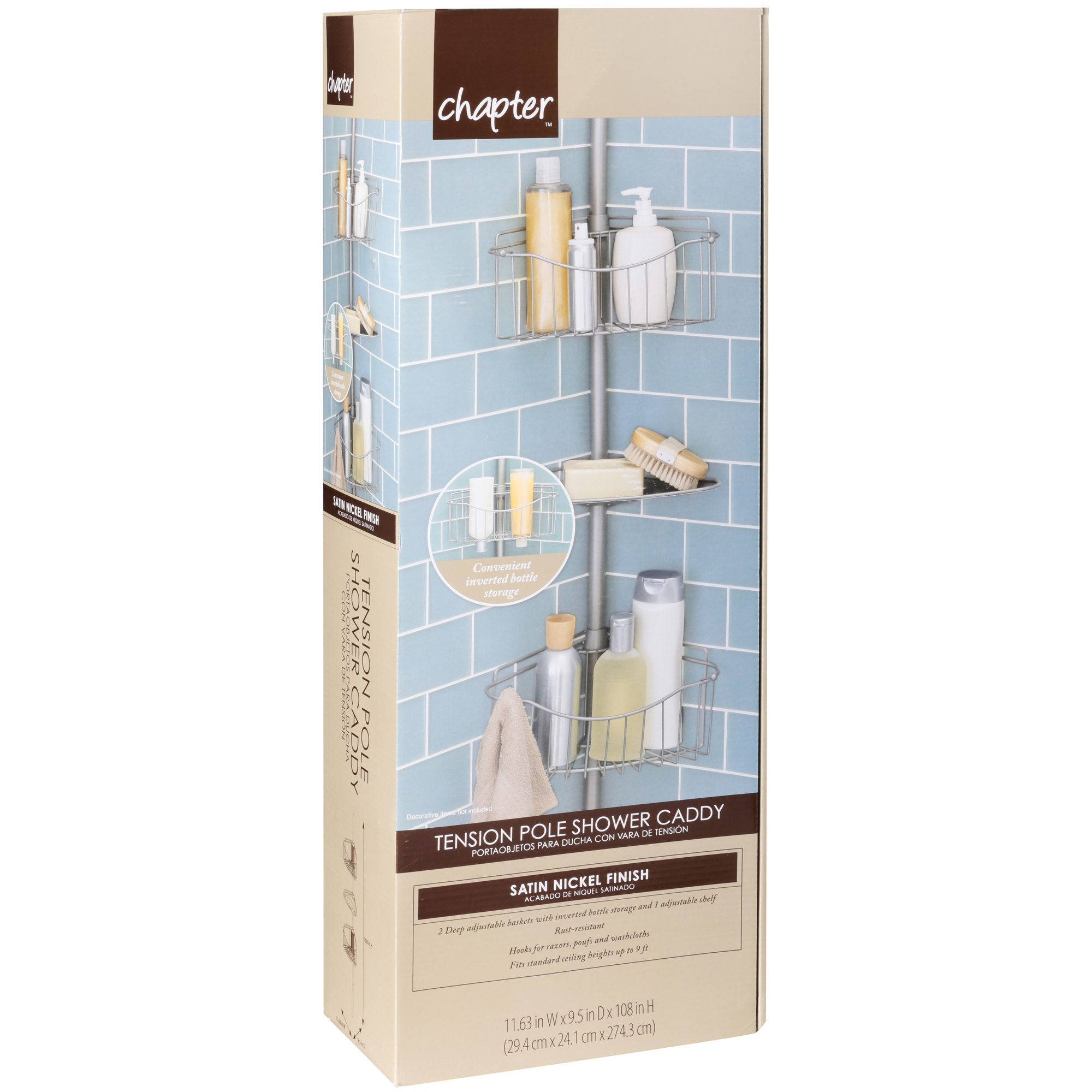 Chapter Tension Pole Shower Caddy, Satin Nickel - Walmart.com