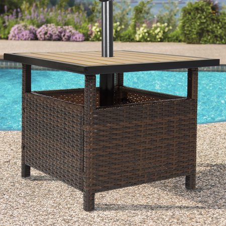 Best choice products patio umbrella stand wicker rattan for Small patio furniture with umbrella