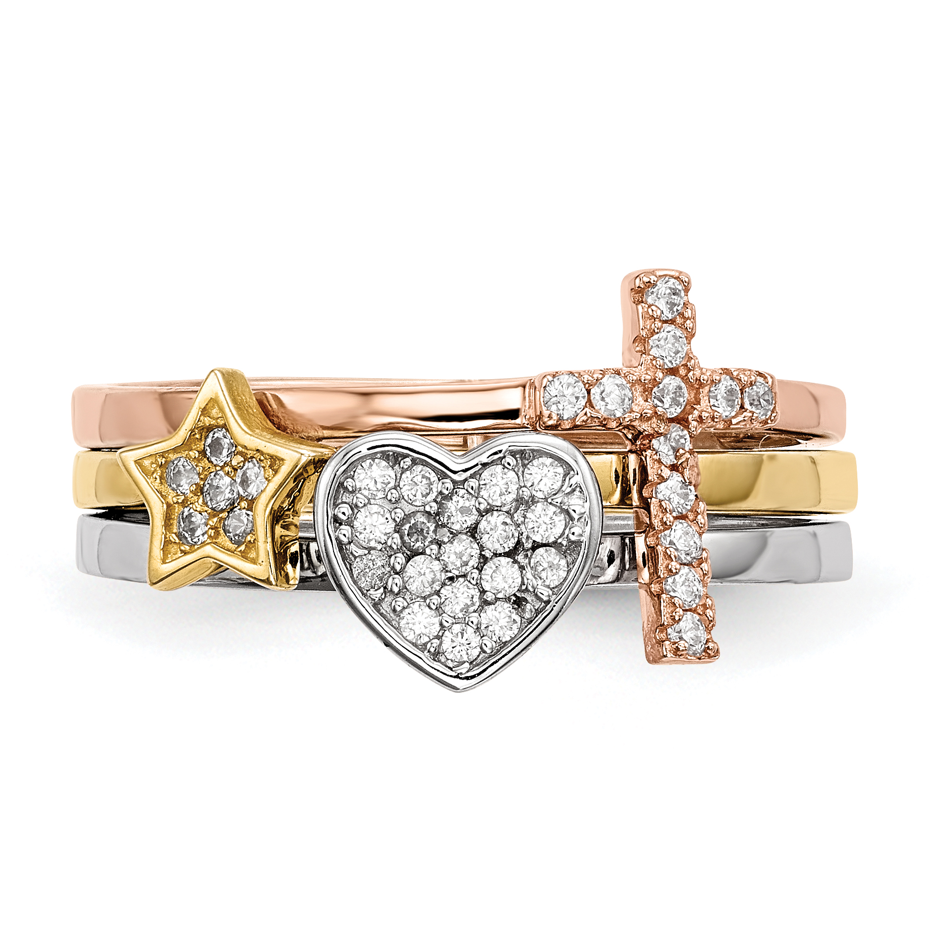 925 Sterling Silver Plate Gold Rose Tone Star Cross Religious Cubic Zirconia Cz 3 Band Ring Set Size 7.00 S/love Sun/moon/star Fine Jewelry Gifts For Women For Her - image 2 de 9