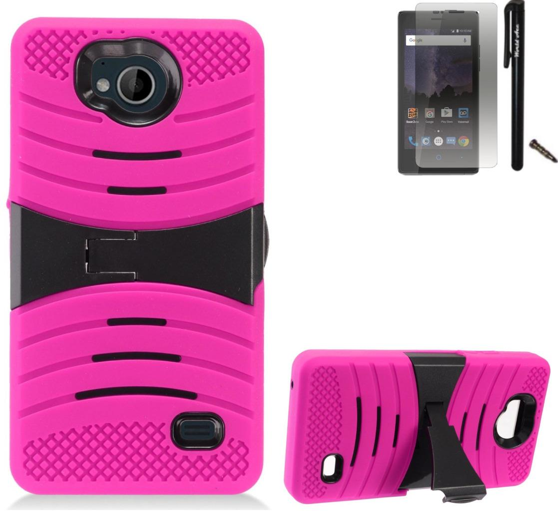 For ZTE Tempo N9131 Case / ZTE Majesty Pro LTE Case Symbiosis Armor Hybrid Silicone Phone Cover Plastic w/ Curve Stand Combo Pack (Black/Pink)