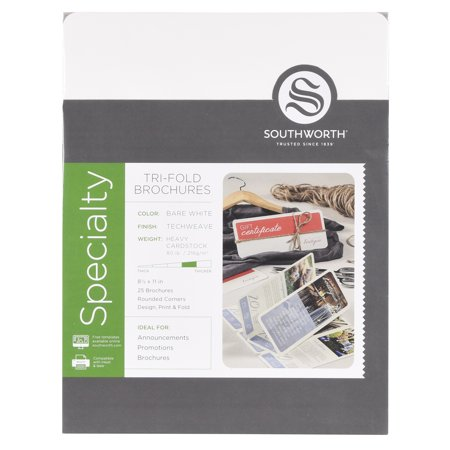 Southworth Tri-Fold Brochures, 8.5u0022 x 11u0022, 80 lb., Techweave Finish, Bare White, 25 Brochures