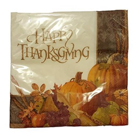 November Harvest Happy Thanksgiving Luncheon Napkins 16ct.](Thanksgiving Party Supplies)