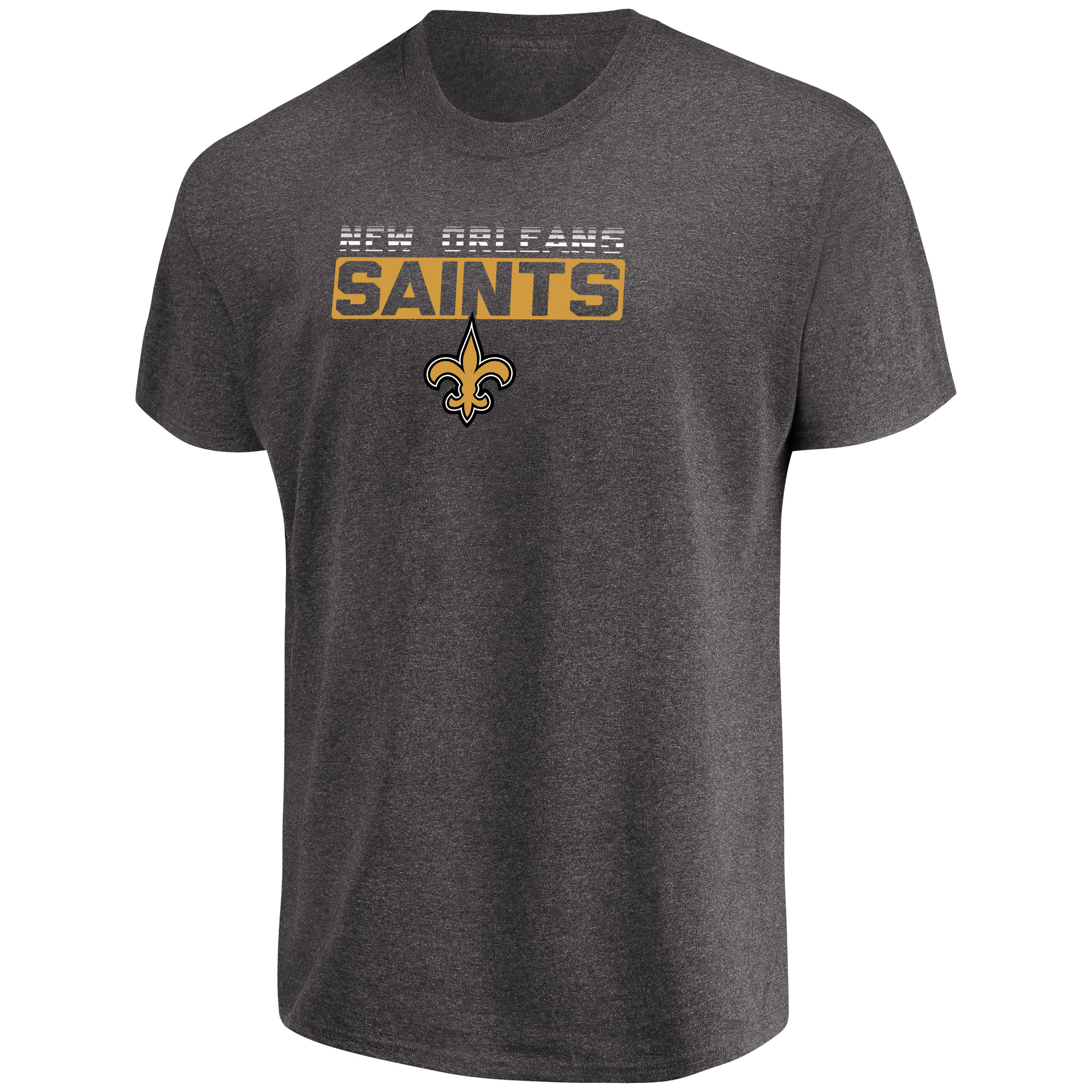 Men's Majestic Heathered Charcoal New Orleans Saints Come Into Play T-Shirt