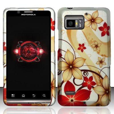 Design Rubberized Hard Case for Motorola Droid Bionic XT875 - Gold Red Flower
