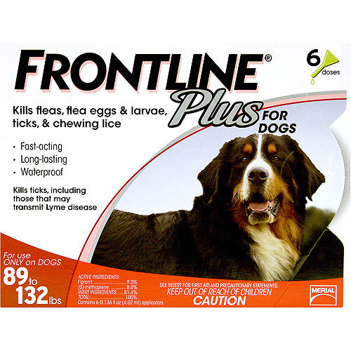 Frontline Flea Control Plus for Dogs And Puppies 89-132 lbs 6 Pack