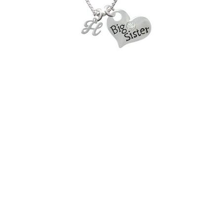 Mini Gelato Script Initial   H   Big Sister Heart Necklace  18  2
