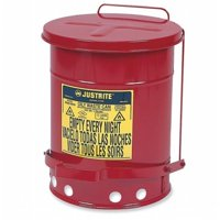 Justrite  JUS-09100 Galvanized Steel Oily Waste Safety Can with Foot Lever - 6 Gallon  Red