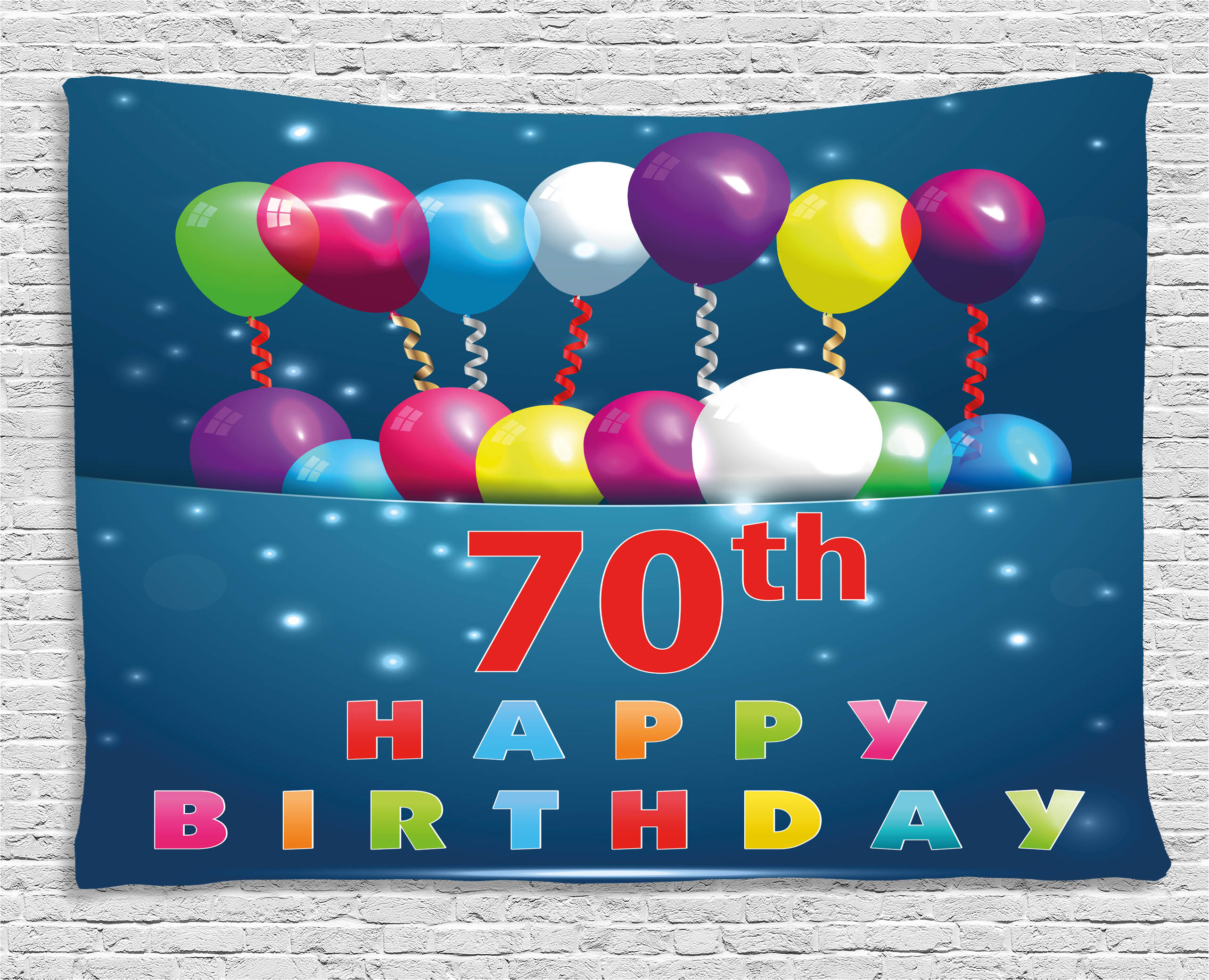 70th Birthday Decorations Tapestry Colorful Balloons on Dark Blue