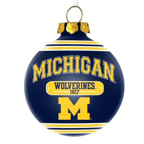 Michigan Wolverines Official NCAA 3 inch x 3 inch  2014 Year Plaque Ball Ornament by Forever Collectibles