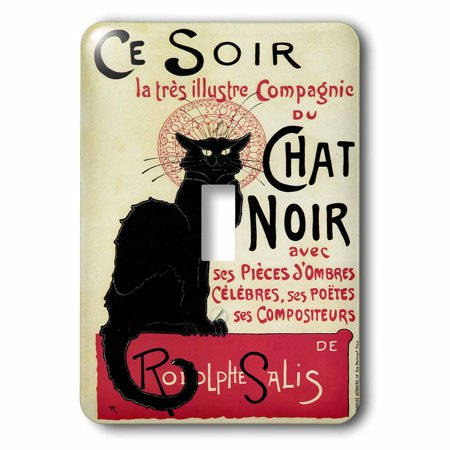 3dRose Vintage Art Nouveau Ce Soir Chat Noir French Poster, Double Toggle Switch