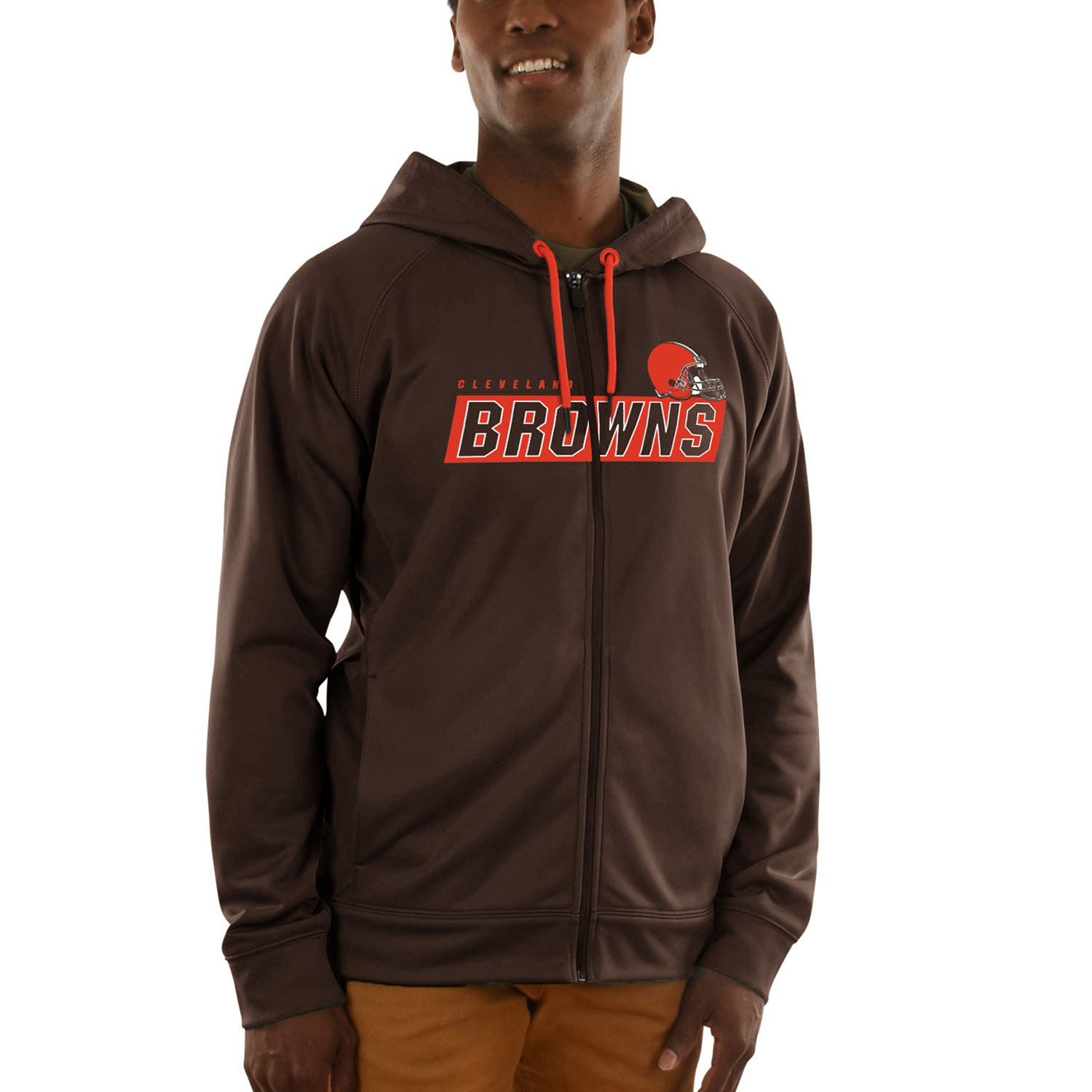 Cleveland Browns Majestic Game Elite Synthetic Full-Zip Hoodie - Brown