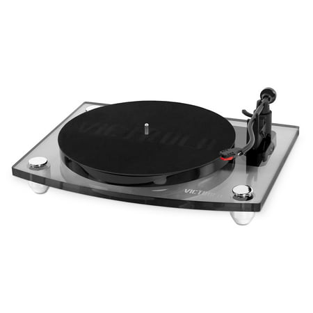 Victrola Acrylic Bluetooth 40 watt Record Player with 2-Speed Turntable and Rechargeable Speakers- Black