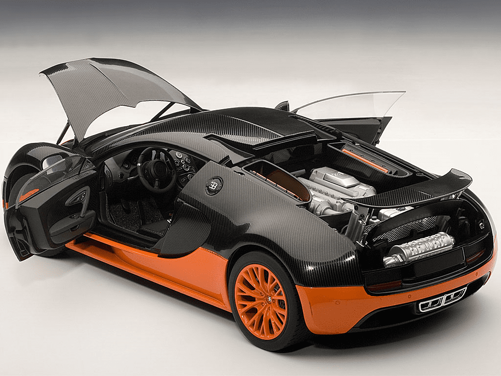 Bugatti Veyron Super Sport Edition Carbon Fiber Black With Orange 1/18  Diecast Car Model By Autoart   Walmart.com