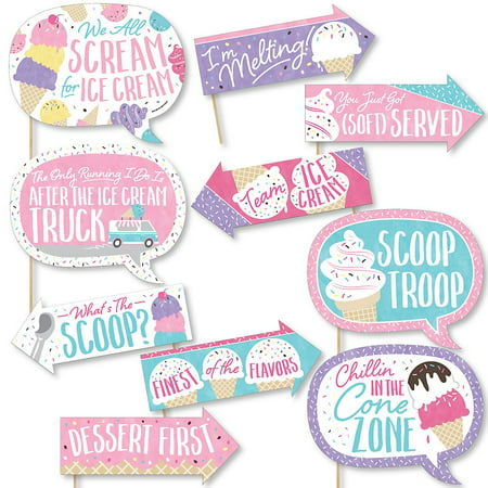 Funny Scoop Up The Fun - Ice Cream - Sprinkles Party Photo Booth Props Kit - 10 Piece  - Photo Booth Fun Props