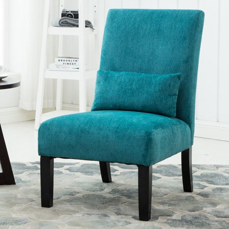 - Roundhill Pisano Fabric Armless Contemporary Accent Chair with Kidney Pillow, Multiple Colors Available