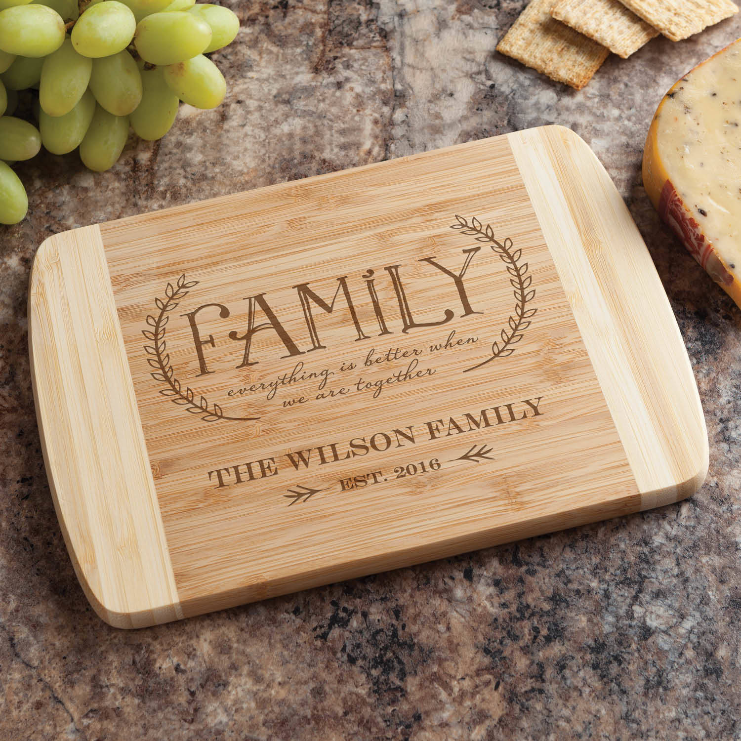 Our Family Personalized Bamboo Cutting Board