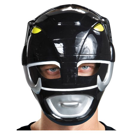 White Mighty Morphin Power Ranger Costumes Adults (Adults Mighty Morphin Power Rangers Black Vacuform Mask Costume)