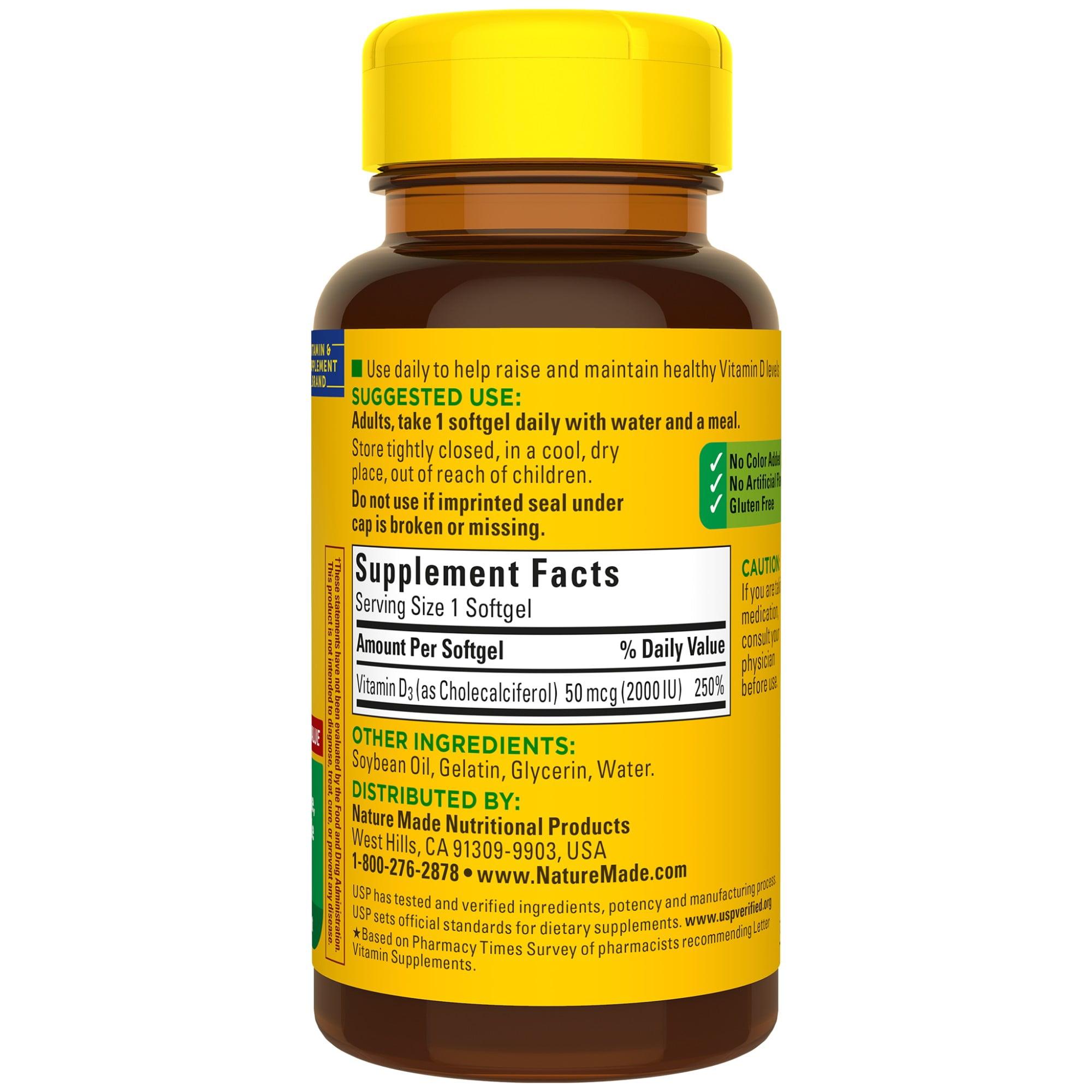 Nature Made Vitamin D3 2000 Iu 50 Mcg Softgels 100 Count For Bone Health Walmart Com Walmart Com