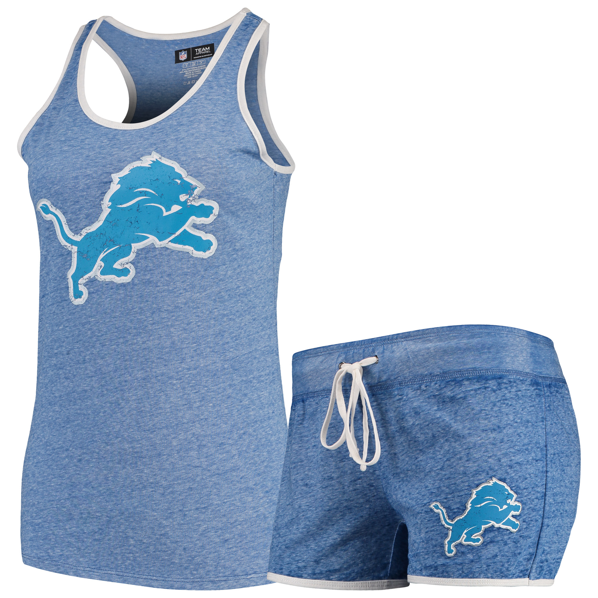 Detroit Lions Concepts Sport Women's Squad Tank Top & Shorts Pajama Set - Heathered Blue