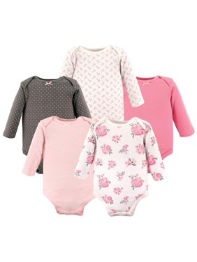 Hudson Baby Girl Long Sleeve Bodysuits, 5-pack