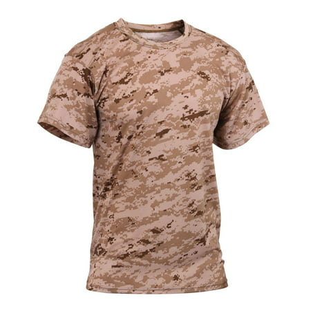 - Camouflage Polyester Performance T-Shirt, Desert Digital Camo
