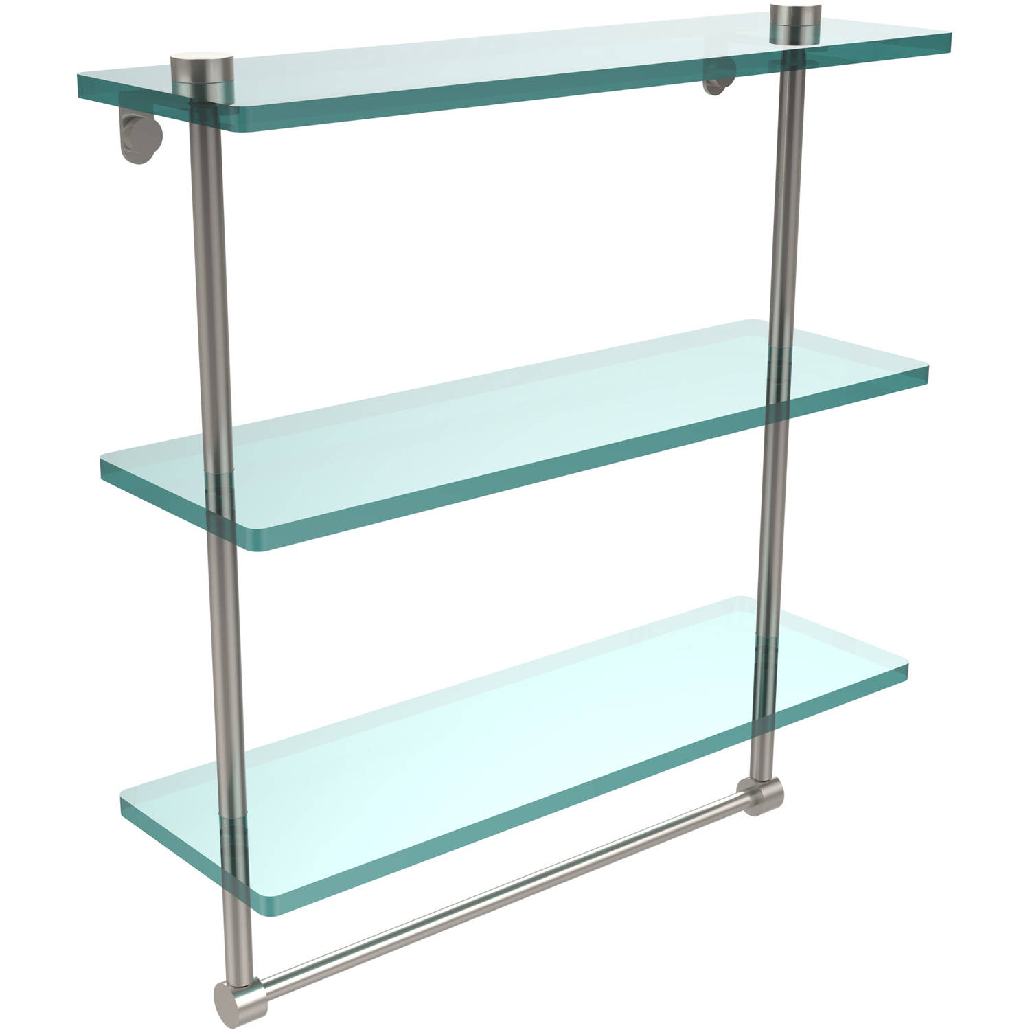 "16"" Triple Tiered Glass Shelf with Integrated Towel Bar (Build to Order)"