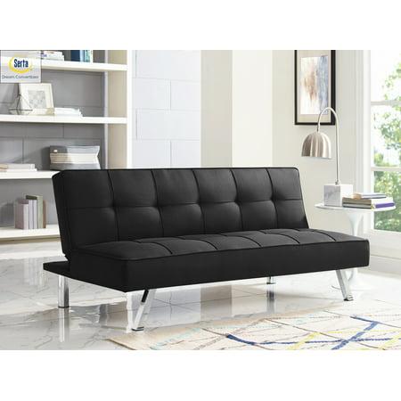 Serta Chelsea 3-Seat Multi-function Upholstery Fabric Sofa, Black