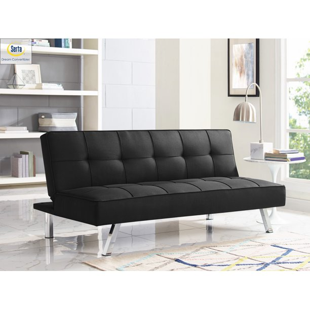 Serta Chelsea 3-Seat Multi-function Upholstery Fabric Sofa, Black