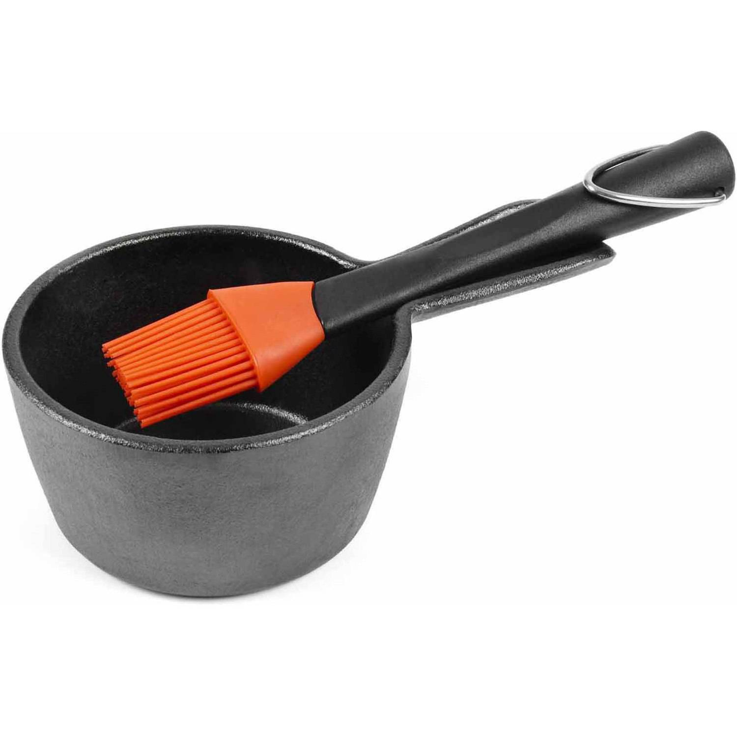 The Charcoal Companion Cast Iron Sauce Pan with Silicone Head Basting Brush, CC5099