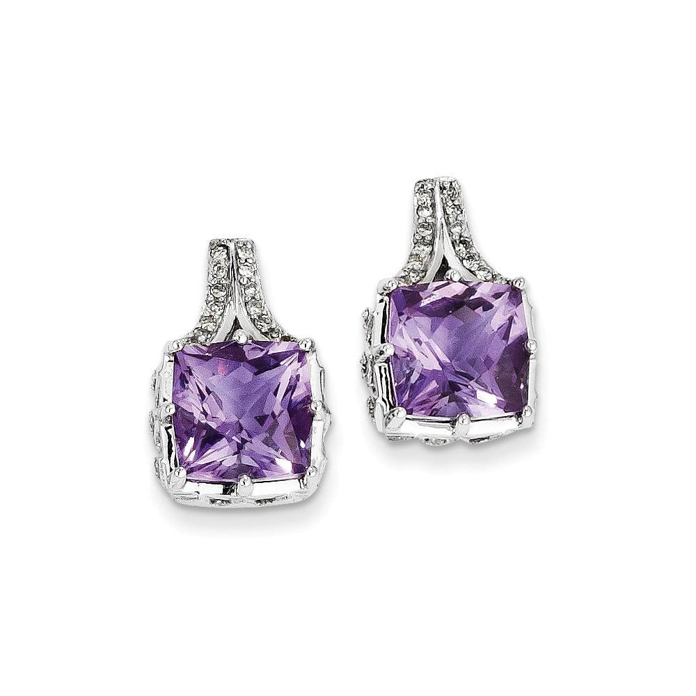 14k White Gold Diamond & Amethyst Square Post Earrings. Carat Wt- 6.15ct (0.6IN x 0.4IN )