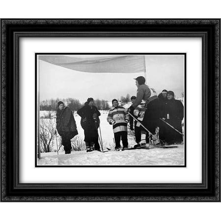 Finish Of Downhill Ski Race - Hanover, New Hampshire, 1936 2x Matted 24x20 Black Ornate Framed Art Print by Rothstein, Arthur