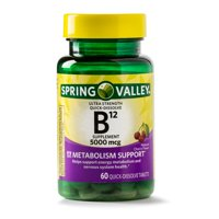 Spring Valley Vitamin B12 Quick Dissolve Tablets, 5000 mcg, 60 Count