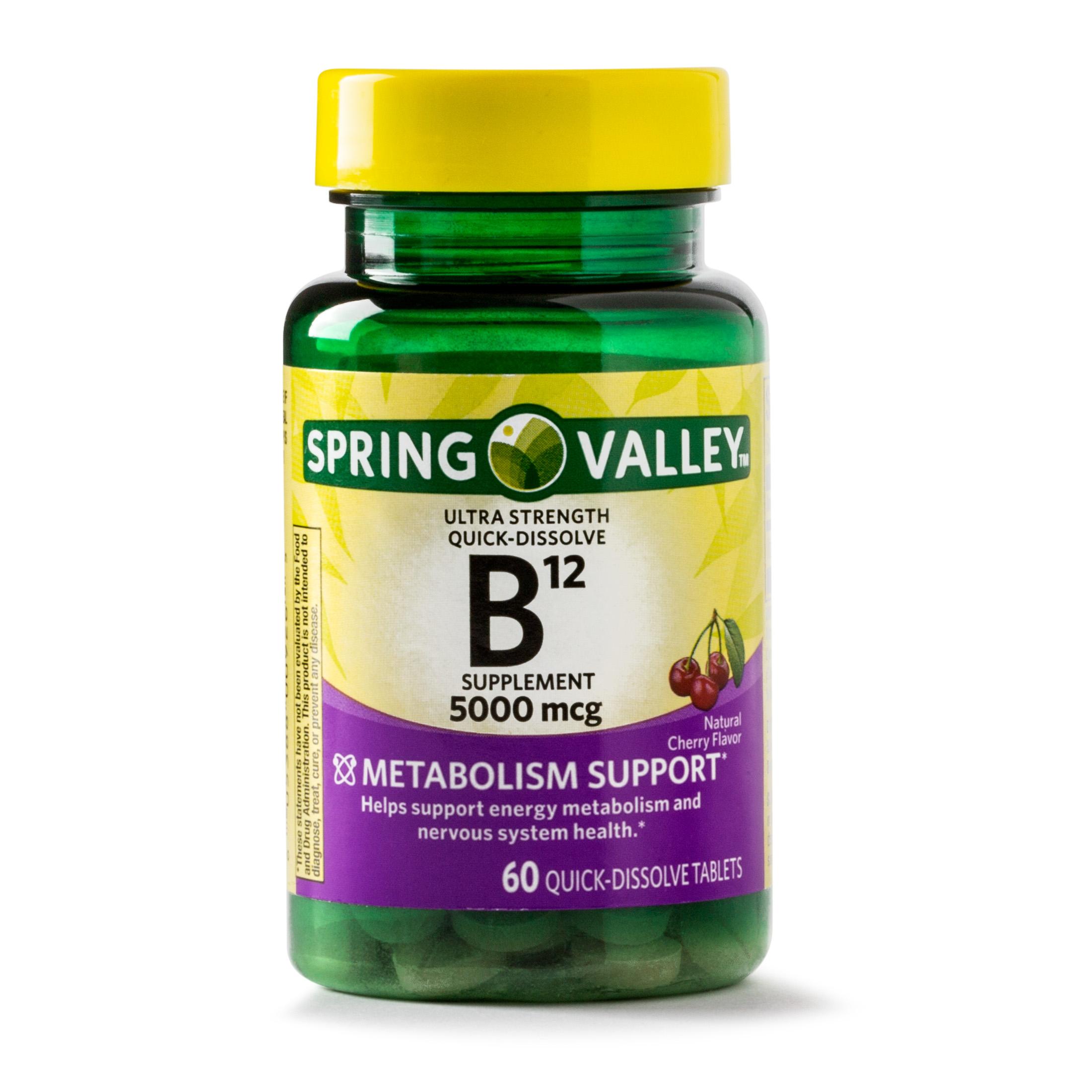 Spring Valley Vitamin B12 Quick Dissolve Tablets, 5000 mcg, 60 Ct