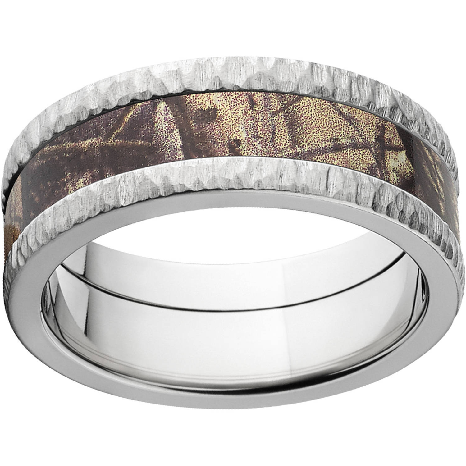 Realtree AP Men's Camo 8mm Stainless Steel Wedding Band with Tree Bark Edges and Deluxe Comfort Fit