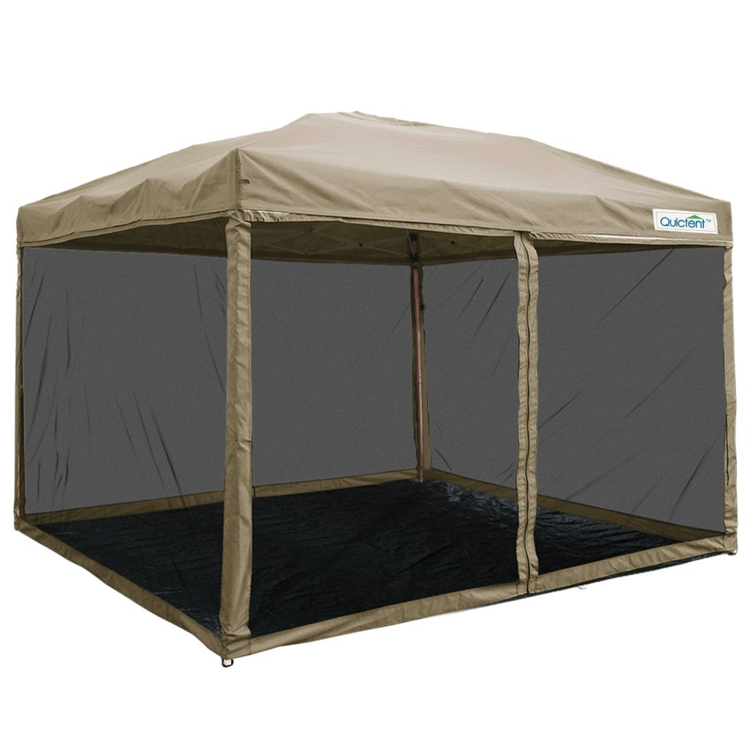 Quictent 8x8 Ez Pop up Canopy with Netting Screen House Instant Gazebo Party Tent Mesh Sides Walls With GroundSHeet Tan by ML