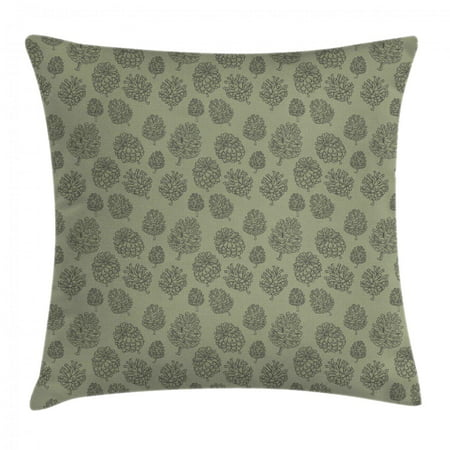 Pine Cone Throw Pillow Cushion Cover, Plants Woodland Conifer Organic Herbal Treatment on Polka Dots Zen Boho, Decorative Square Accent Pillow Case, 18 X 18 Inches, Pale Sage Green Grey, by Ambesonne