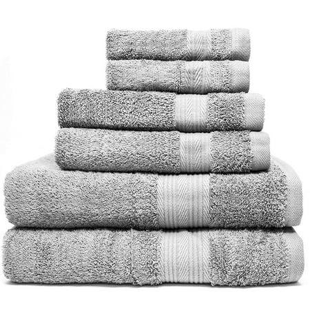 Zeppoli 6-Piece Towel Set - 100% Cotton Grey Towels - 2 Bath Towels, 2 Hand Towels, 2 Washcloth Towels - Ultra Soft and Absorbent Bathroom Towels - Great Shower Towels, Hotel Towels & Gym Towels (Gym Towel Shower)