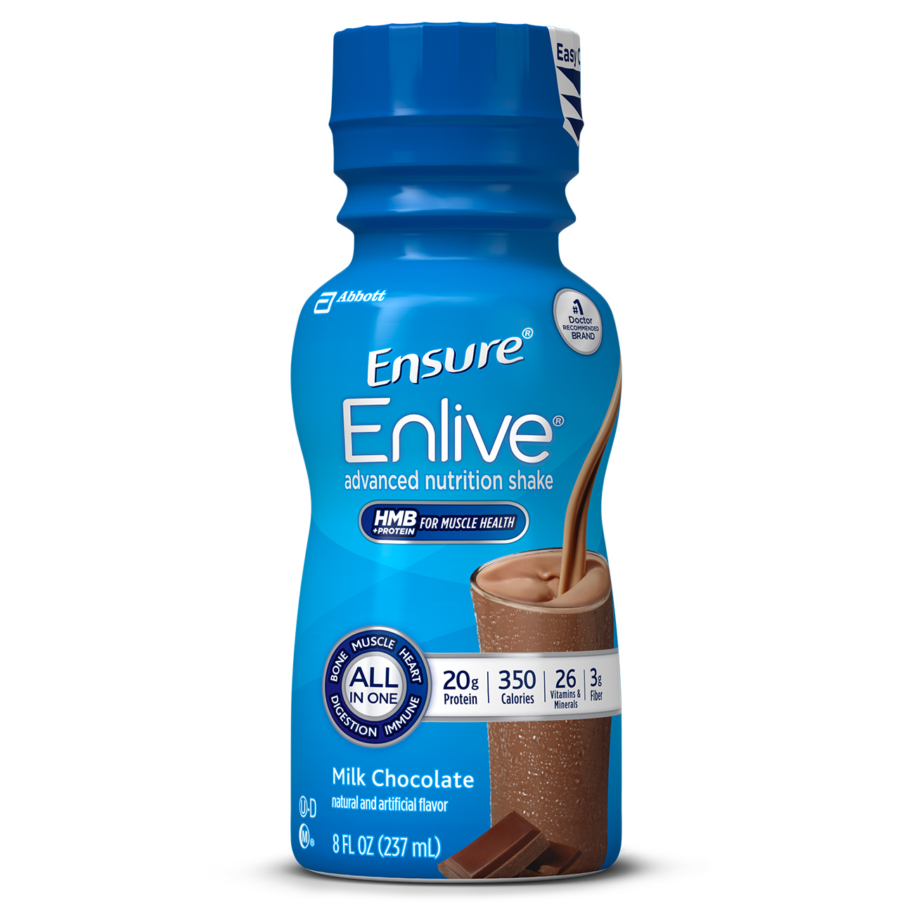 Ensure Enlive Advanced Nutrition Shake Milk Chocolate with 20 grams of high-quality protein, Meal Replacement Shakes, 8 Fl oz, 12 Ct