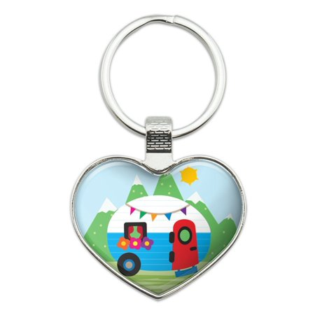 Vintage Retro Camper RV Camping Travel Trailer Heart Love Metal Keychain Key Chain Ring (Camper Keychain)