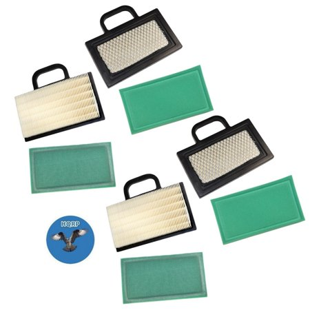 Image of HQRP 4-pack Air Filter Cartridge w/ Pre-cleaner for John Deere GY20575, GY21056, MIU11286 Replacement fits D140, D130, Z425 Lawn Tractor + HQRP Coaster