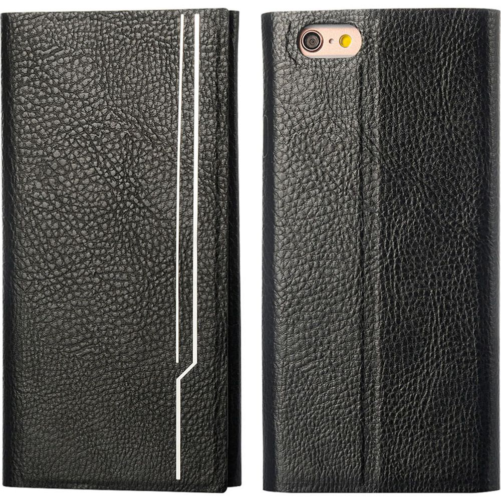 Insten Low Profile Ultra Slim Flip Leather Case W/ Extended Weight Cover - Black For Iphone 6 Plus / 6S Plus - image 1 de 3